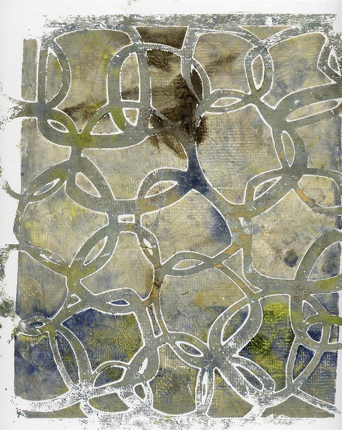 Gelli Arts Print with Stencil- No Water Spray