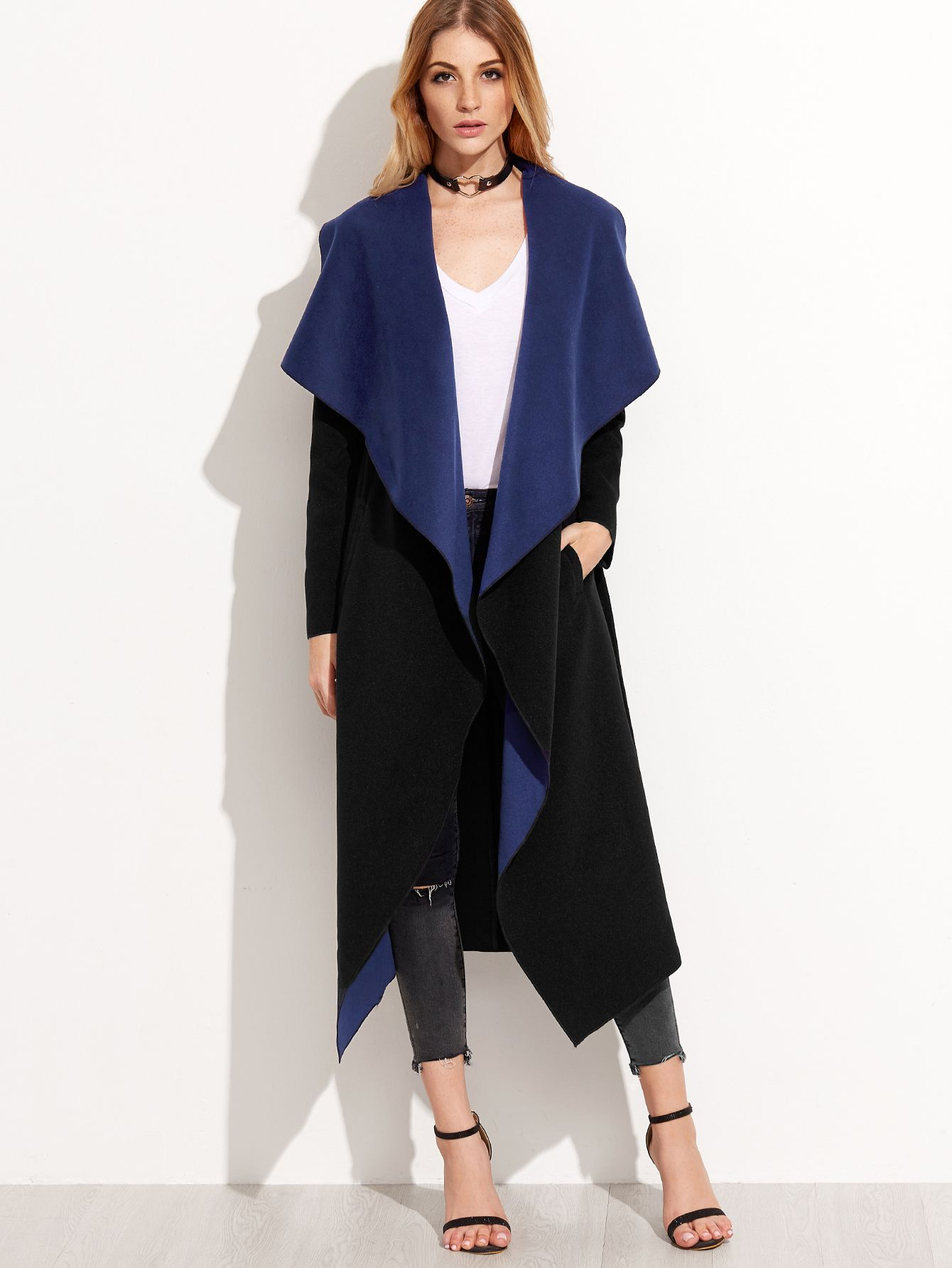 Shop Black Contrast Shawl Collar Wrap Coat online. SheIn offers Black  Contrast Shawl Collar Wrap Coat   more to fit your fashionable needs. 1becaeb5e265