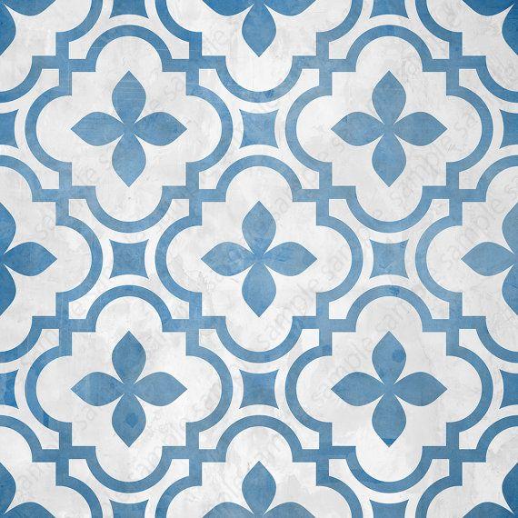 Digital Tiles Blue And White Ornate Wall Decor Printable Etsy