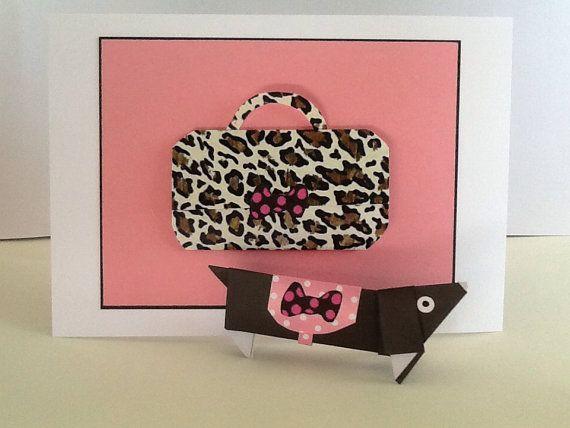 Dachshund Origami Card, Origami Sausage Dog ,Black Dachshund Origami Card, Birthday Card Wienerdog