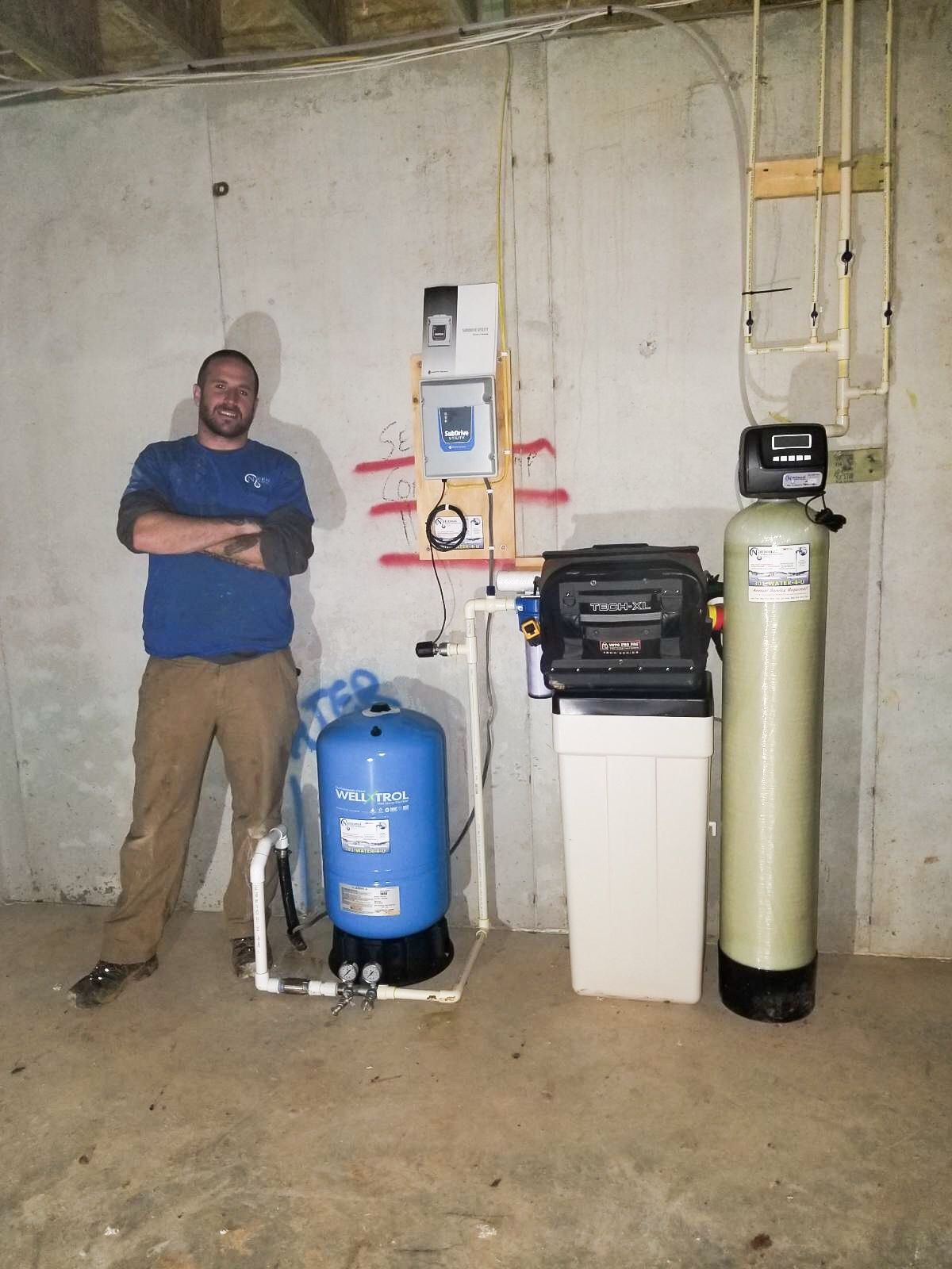 New Installation Of A Pressure Tank Water Softener Subdrive Pump Control Box And Sediment Filter Water Treatment Home Water Filtration Water Softener