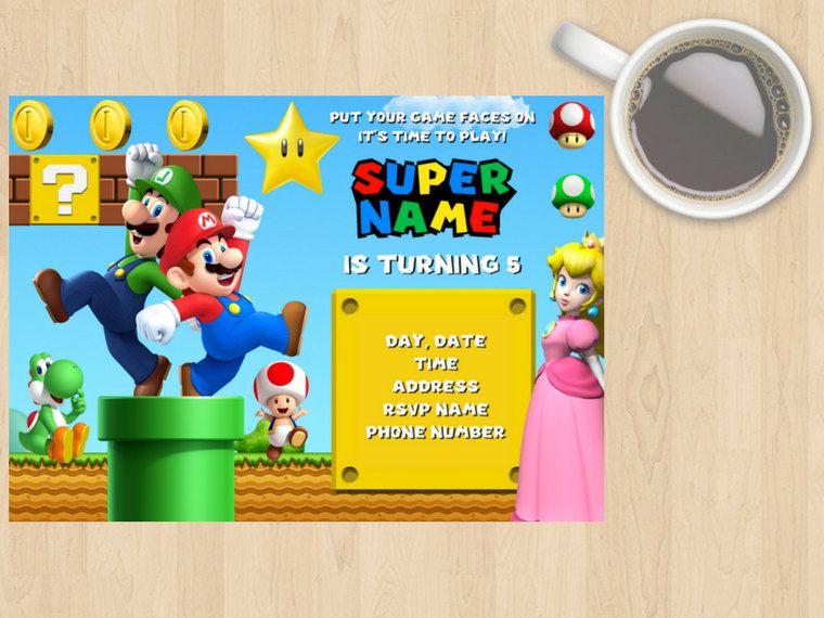 Digital Download Mario Luigi Yoshi Princess Peach Kids