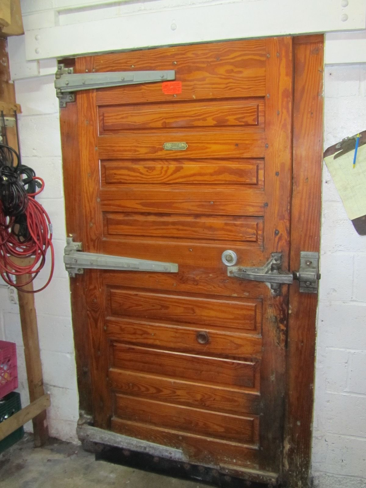 Vintage Jamison Wood Walk In Refrigerator Freezer Door