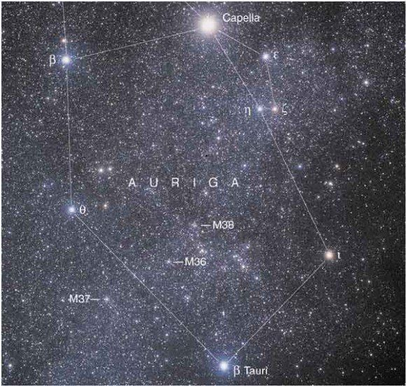 """Auriga the Charioteer. It's a prominent winter constellation in the northern hemisphere.  It's near Orion and Taurus and the ring of bright stars is easy to recognize.  ©Mona Evans, """"Auriga the Charioteer""""  http://www.bellaonline.com/articles/art50001.asp"""