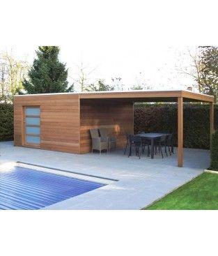 Box Iroko avec auvent Gartenhaus modern, Gartenhaus mit