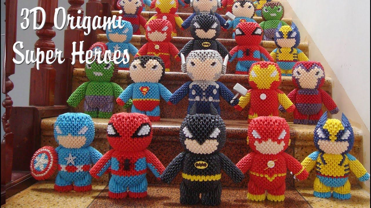 3d Origami Super Heroes Collection Paper Super Heroes Handmade Toy Origami Marvel Collection Paper 3d Origami