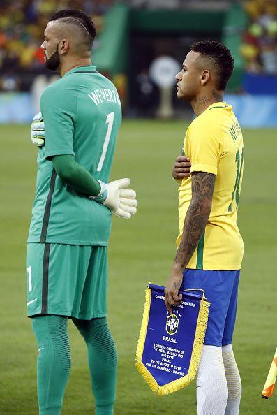 Brazil S Forward Neymar And Brazil S Goalkeeper Weverton Pereira Da Silva Stand Rio Olympics 2016 Rio 2016 Olympic Games