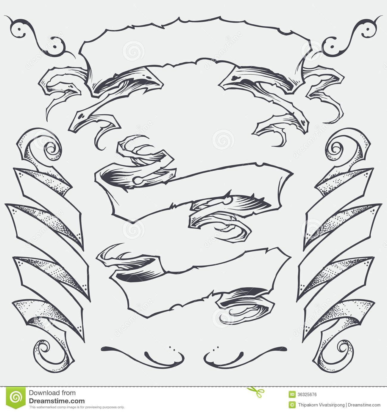 Line Drawing Name Designs : Tattoo banner vector ribbons set royalty free
