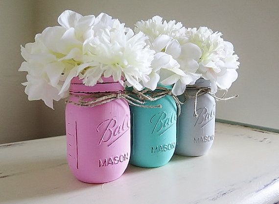 Pink Teal Gray Distressed Mason Jars Baby Shower by MyHeartByHand