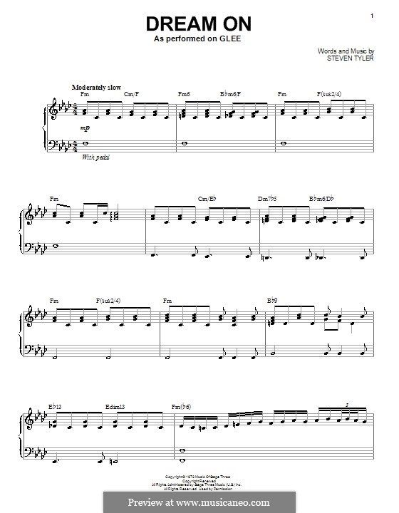 Dream On Aerosmith For Voice And Piano Or Guitar By Steven