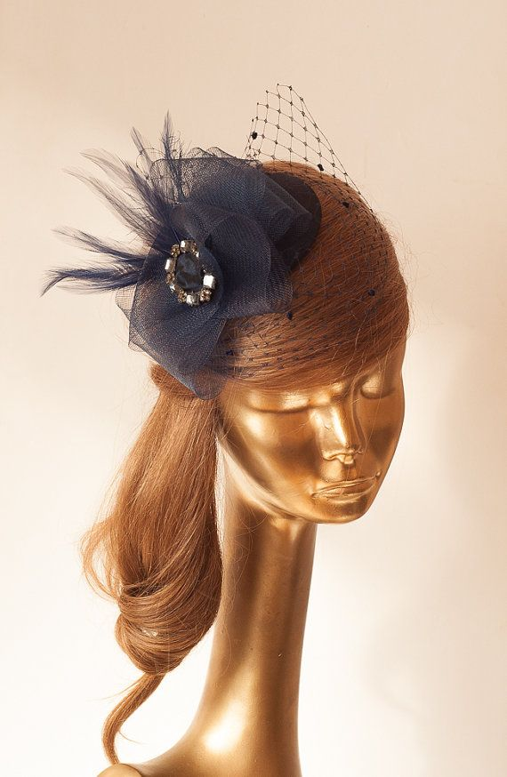 d83524b43b171 Navy Blue FASCINATOR with BIRDCAGE VEIL Wedding Mini Hat with Veil ...