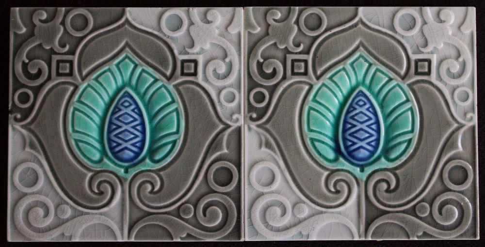 Jugendstil fliesen art nouveau tile c1900 tegels carreau blume jugendstil jugendstil - Art deco fliesen ...
