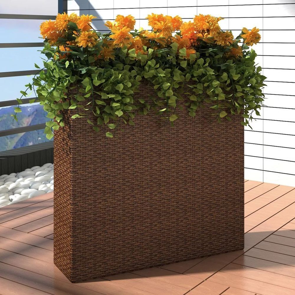 Rattan Garden Rectangle Planter Set Plant Flower Pot Patio Decor Brown Black Us With Images Flower Pots Outdoor Garden Planter Boxes Rattan Planters