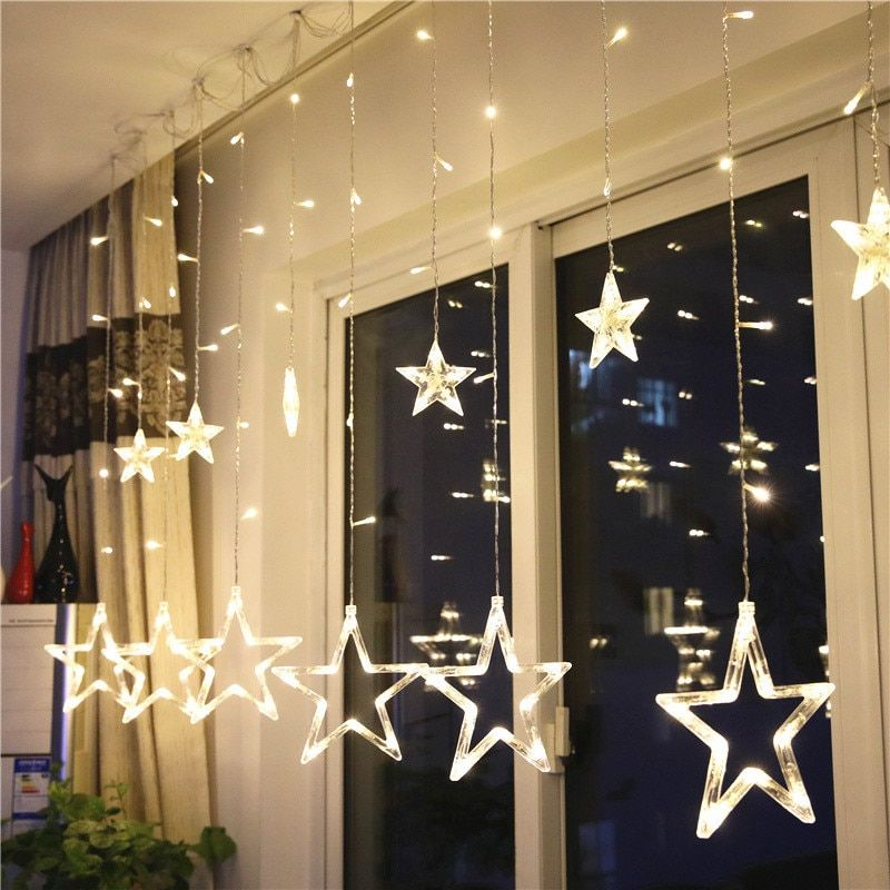 Mrosaa 2 5m 138 Led Night Light Battery Power 12pcs Star Curtain