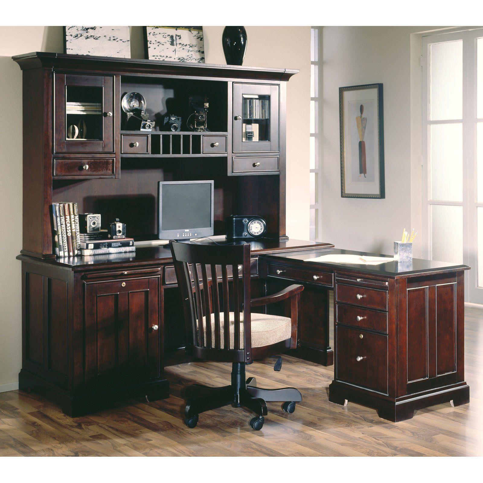 Riverside urban crossings l shaped desk with hutch espresso 2099 98