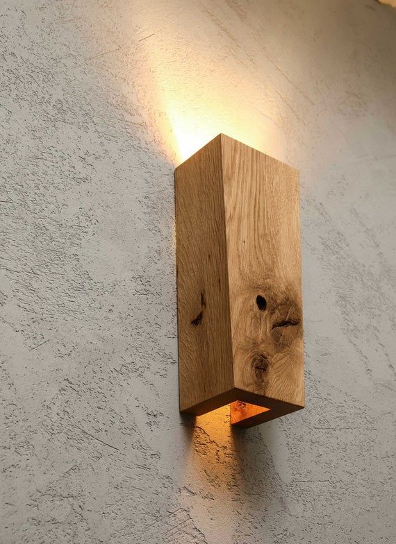 wooden scone wall lamp industrial handmade home decor lighting RAMUS lights solid rustic wood with knots burl knag handcrafted