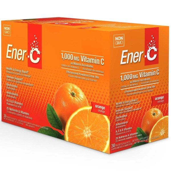 Ener-C, ビタミンC、発泡性粉末飲料ミックス、オレンジ、30包、9.2オンス(260.1g)