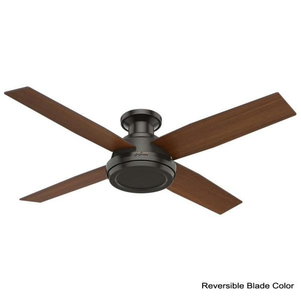 Hunter Dempsey 52 In Low Profile No Light Indoor Noble Bronze Ceiling Fan 59449 The Home Depot In 2020 Ceiling Fan Ceiling Fan With Light Bronze Ceiling Fan