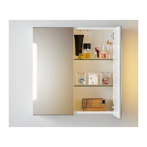 Spiegelschrank m. 2 Türen+int. Bel. STORJORM weiß | Vanity ...