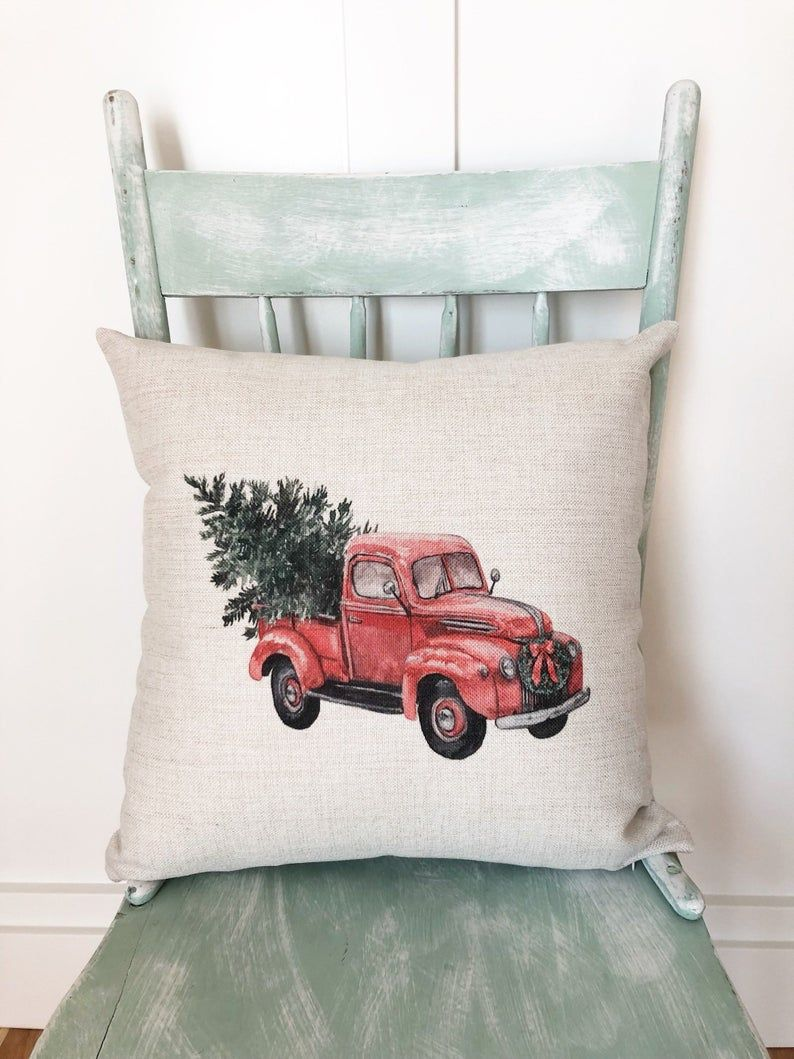 Christmas Truck Pillow Cover Christmas