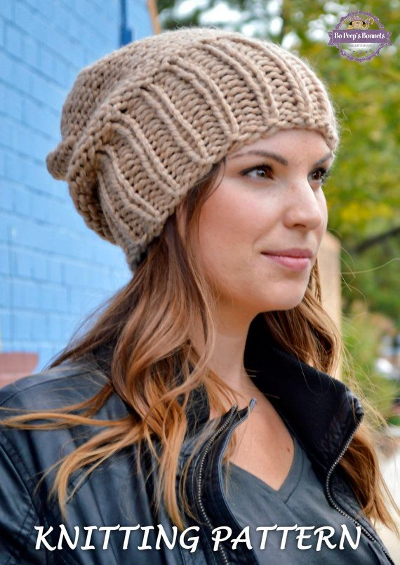 Knit Hat PATTERN, Knitting Pattern Women\'s Slouchy Sacking Hat ...
