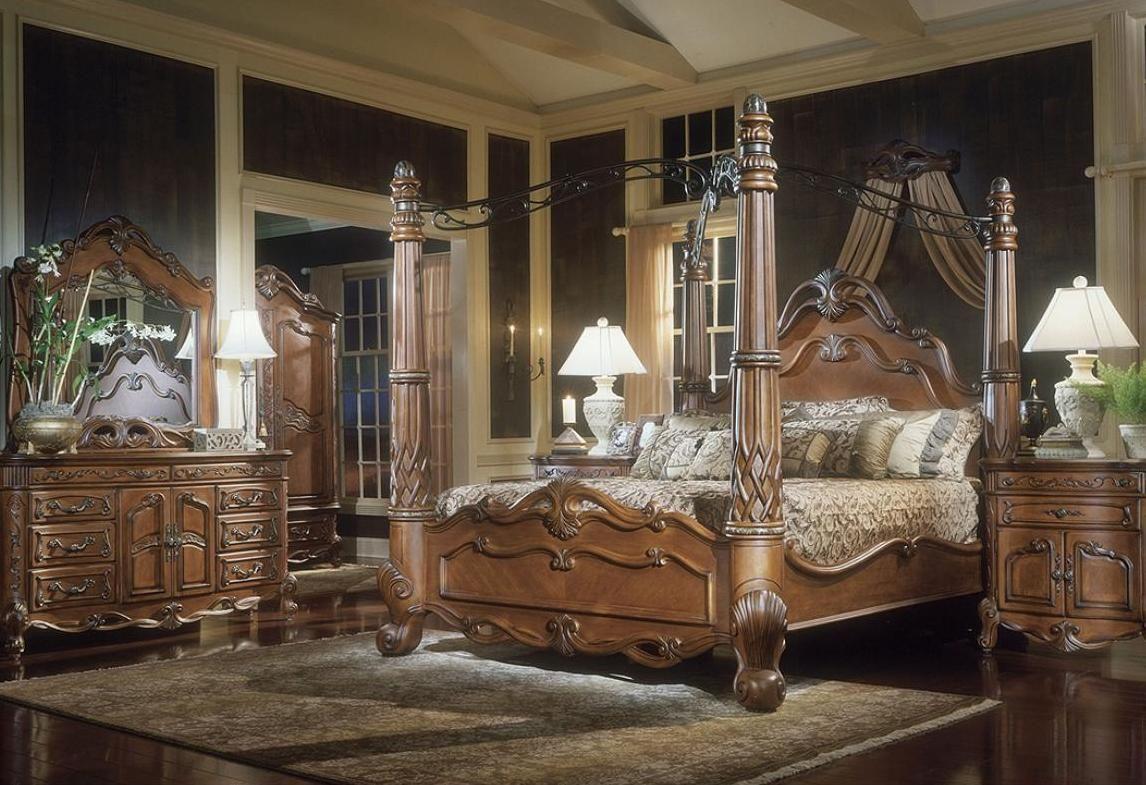 - Himmelbett Set Luxus Design Schickes Schlafzimmer, Holz