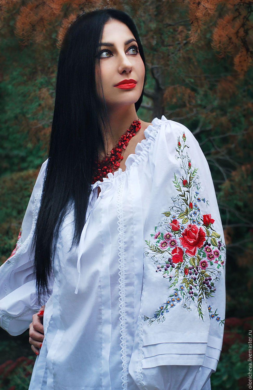 """Купить Нарядная белая блуза """"Цветочная новелла"""" ручная вышивка гладью - белый, вышитая блузка"""