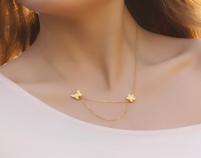 Butterfly Gold Necklace Flower Necklace Layering Necklace 14k