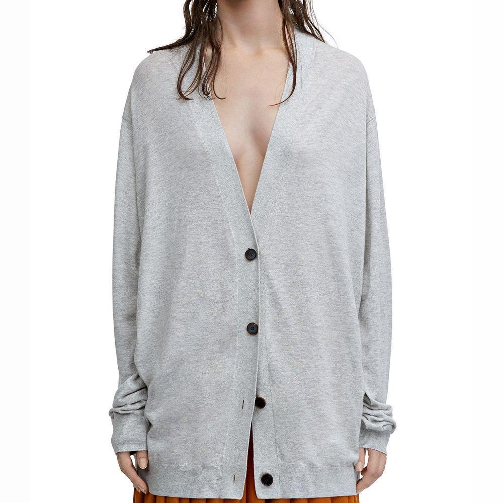 Acne Studios Marva Fluid Grey Melange Oversized Cardigan Sweater ...