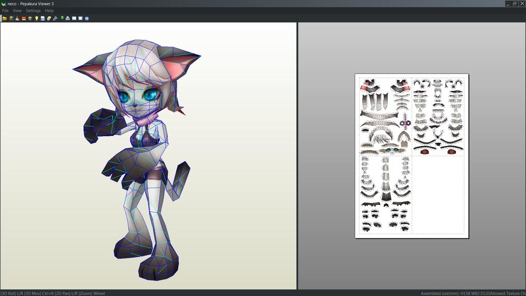 Light Martial Cat papercraft unfold by Antyyy.deviantart