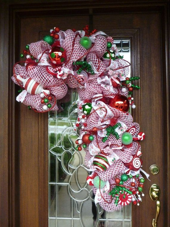 deco mesh candy cane christmas wreath by decoglitz on etsy by karla small town rambler