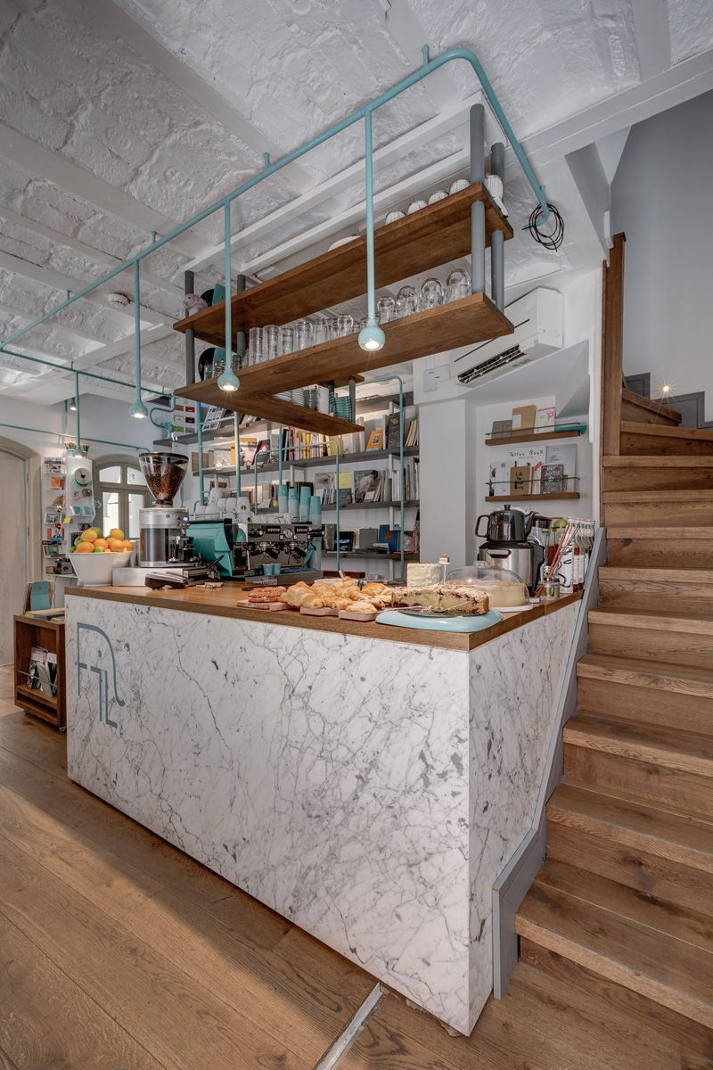 A Pipe Theme Runs Throughout This Book Store And Coffee Shop Bar InteriorInterior DesignCafe DesignIstanbul TurkeyRestaurant