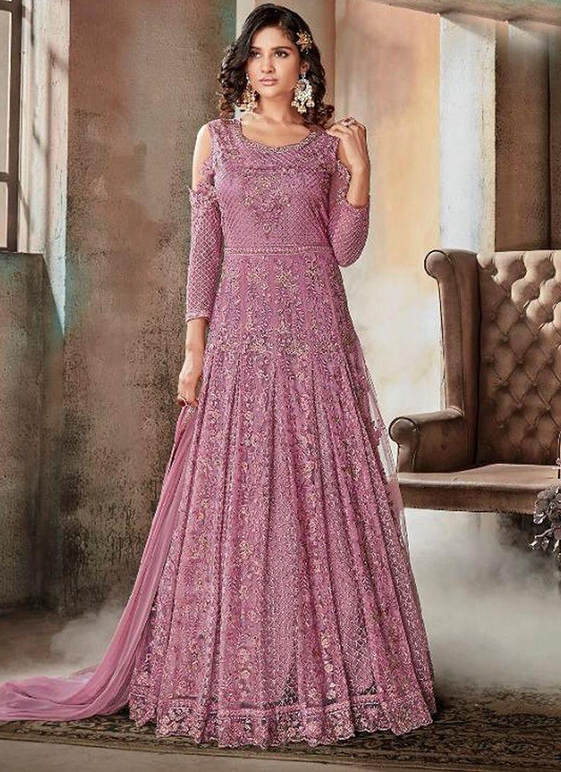 1ec6e3d382bb Violet Embroidered Heavy Net Long Anarkali Suit