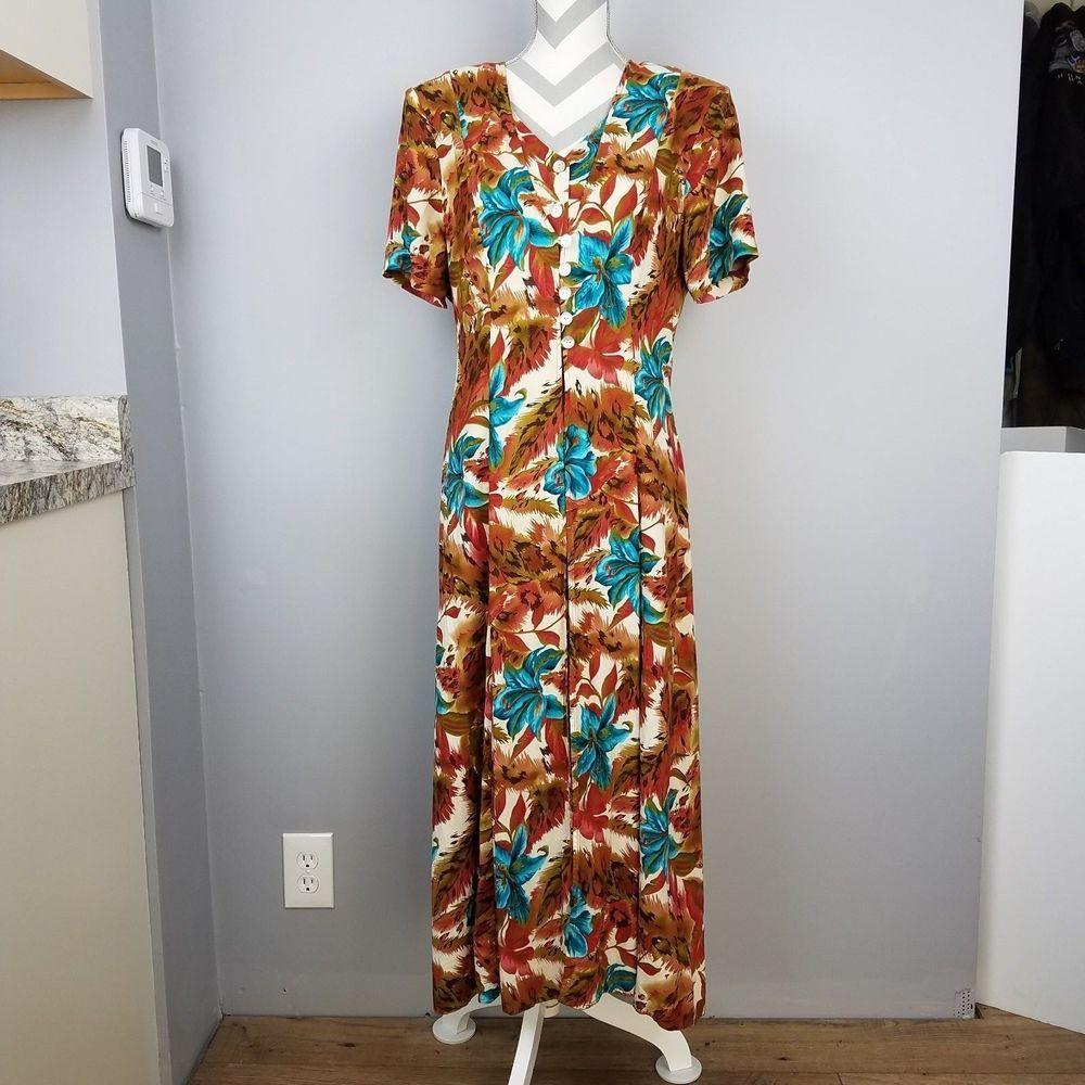 e4a18e03fe J.B.S. Ltd Floral Long Dress Sz 14 Multi Color Button Down Maxi Boho Chic  Flared  JBSLtd  Maxi  Everyday