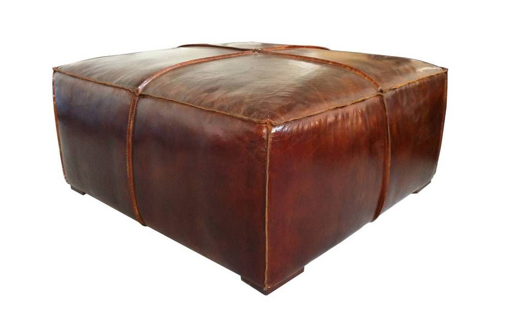 Stamford Coffee Table Brown Distressed Leather Ottomans And Coffee - Distressed leather ottoman coffee table