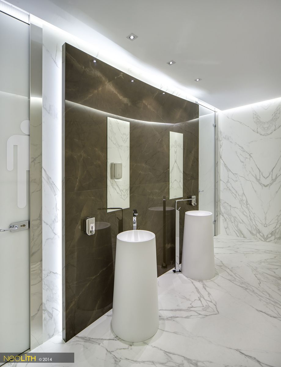 Check out this #Neolith #bathroom done with #Calacatta Silk and #Pulpis  Polished