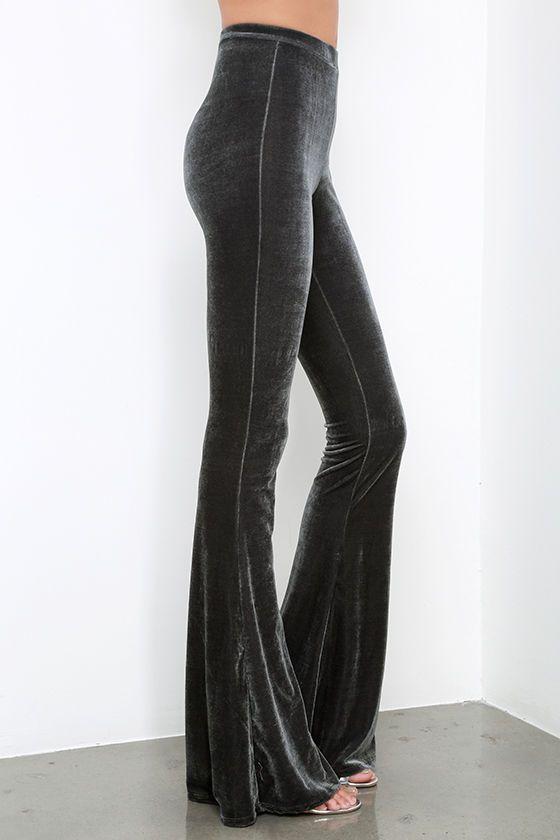 1d180ec4 Shagadelic Grey Velvet Flare Pants in 2019 | clothes | Velvet flare ...