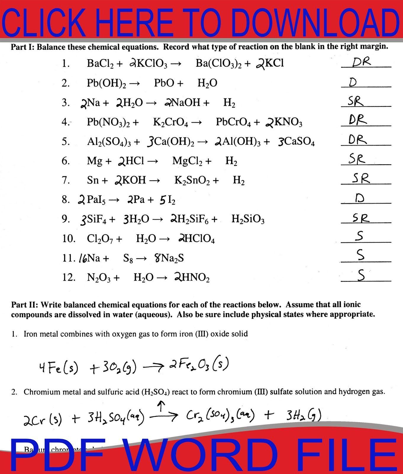 Worksheet 1 Writing And Balancing Formula Equations