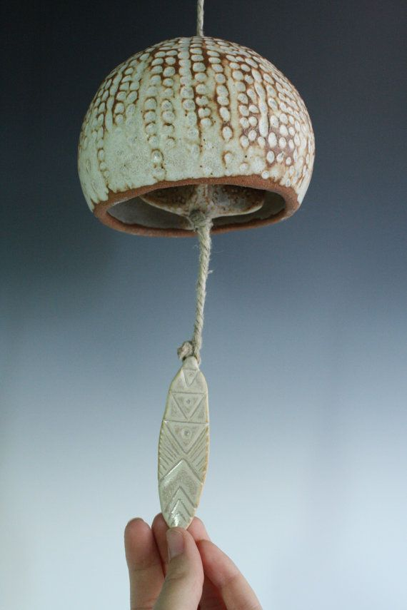 Sea Urchin bell. Ceramic white ocean garden Art wind chime. Moving ...