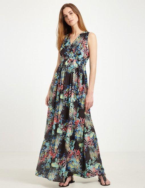 robe longue fluide cache coeur