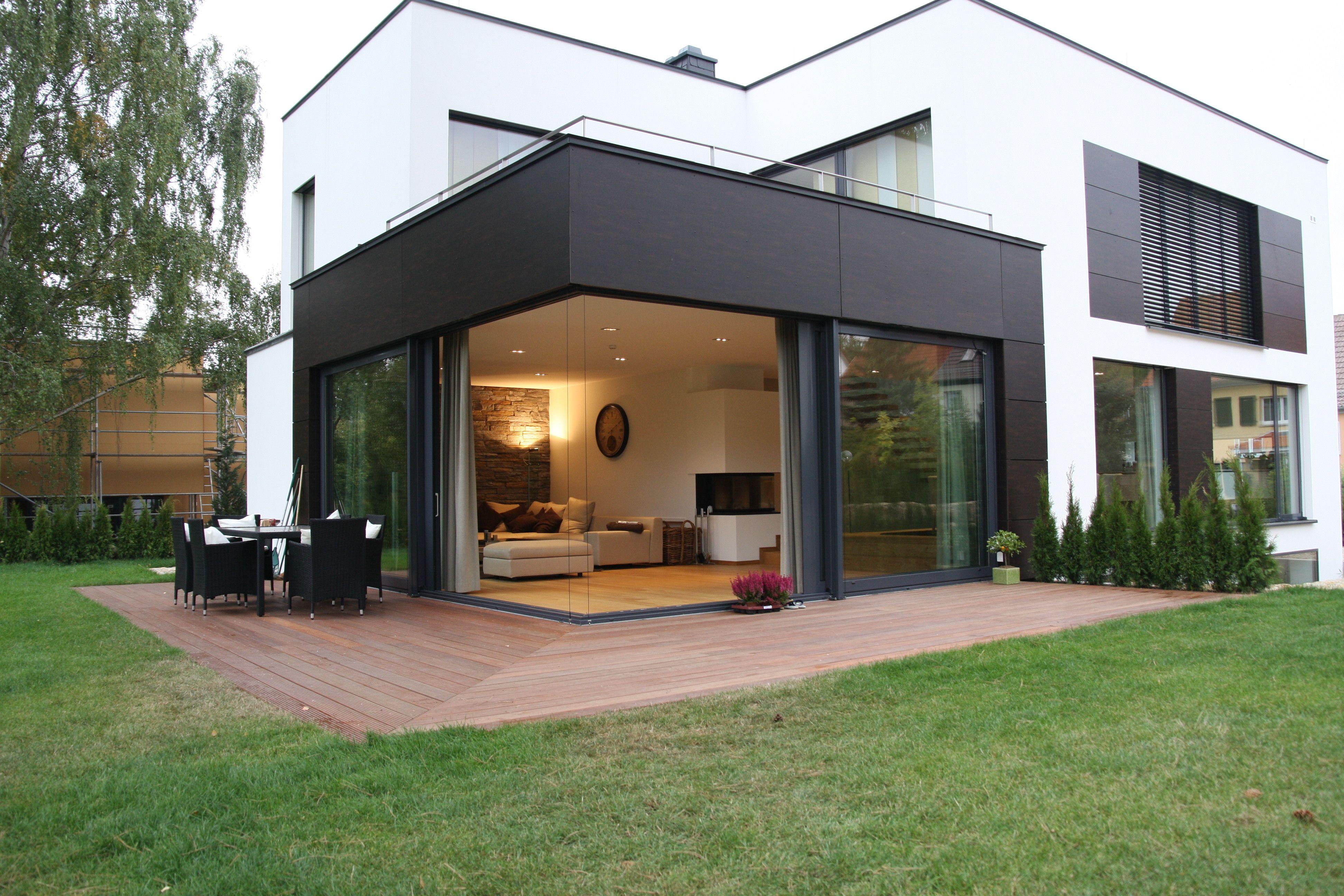 Hausbau moderner baustil  Blick von der Gartenseite | Extension ideas | Pinterest | Hausbau ...
