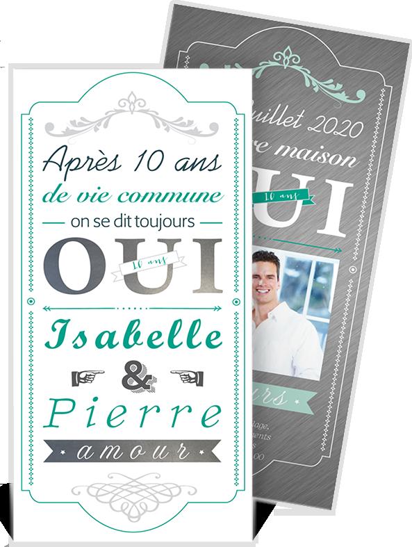 Invitation Anniversaire De Mariage Pour Fêter Vos 10 Ans Ensemble