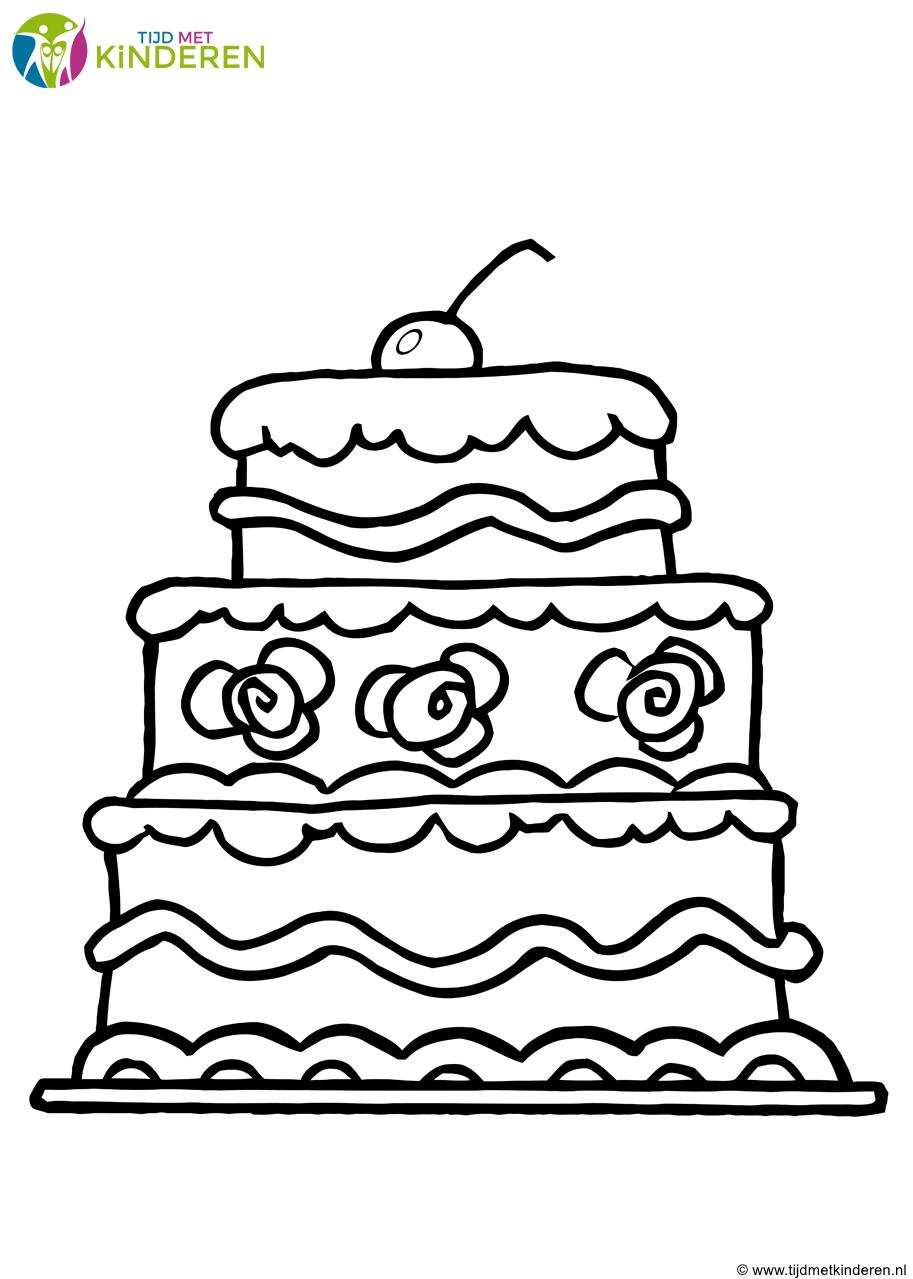kinderen kleurplaat taart allerleukste taarten