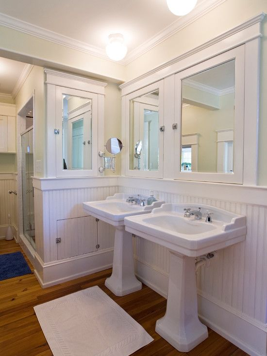 Beau Pictures Of Elegant Beadboard Bathroom Ideas To Decorate Your New Bathroom  : Exciting White Beadboard Bathroom With Dual White Sinks Mirrored Medicine  ...