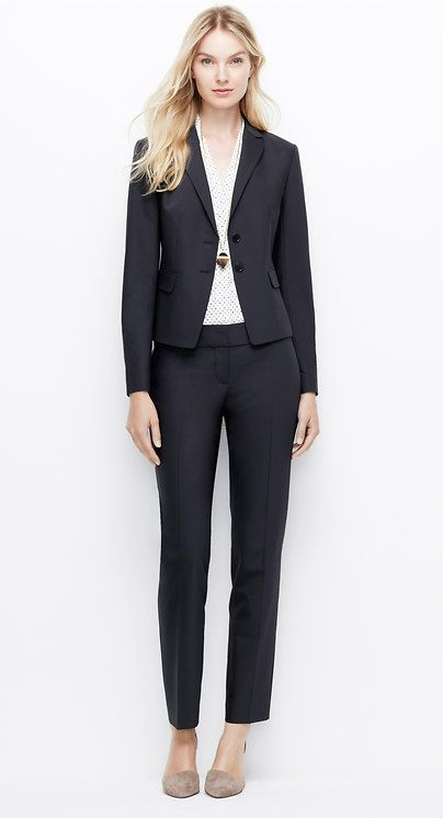 Ann Taylor--Tropical Wool Two Button Jacket with Straight Leg Pants, and Flounce Skirt in Dark Navy