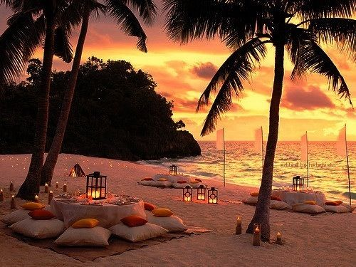 Sunset Beach Wedding Reception With Images Romantic Dinner