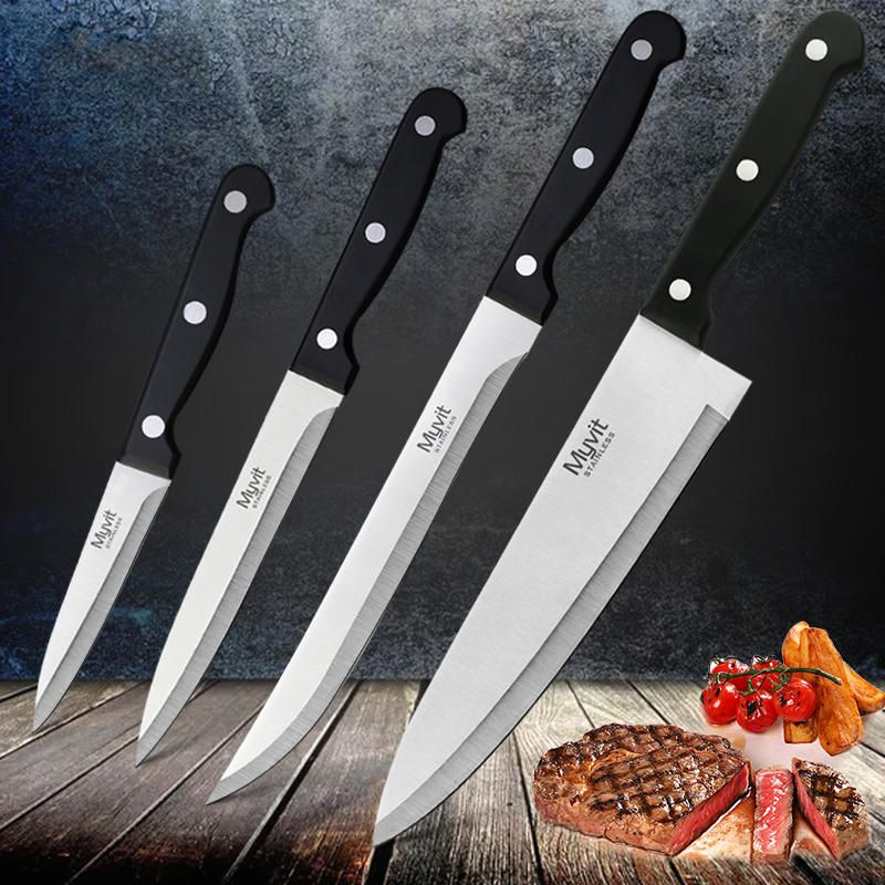 Us 4 80 4pc Myvit Stainless Steel Chef Knife Set 3cr13 Kitchen Knife Cook Japanese Kitchen Knife Sharp Meat Cleaver Kitchen Accessorie Kitchen Dining Bar From Deco
