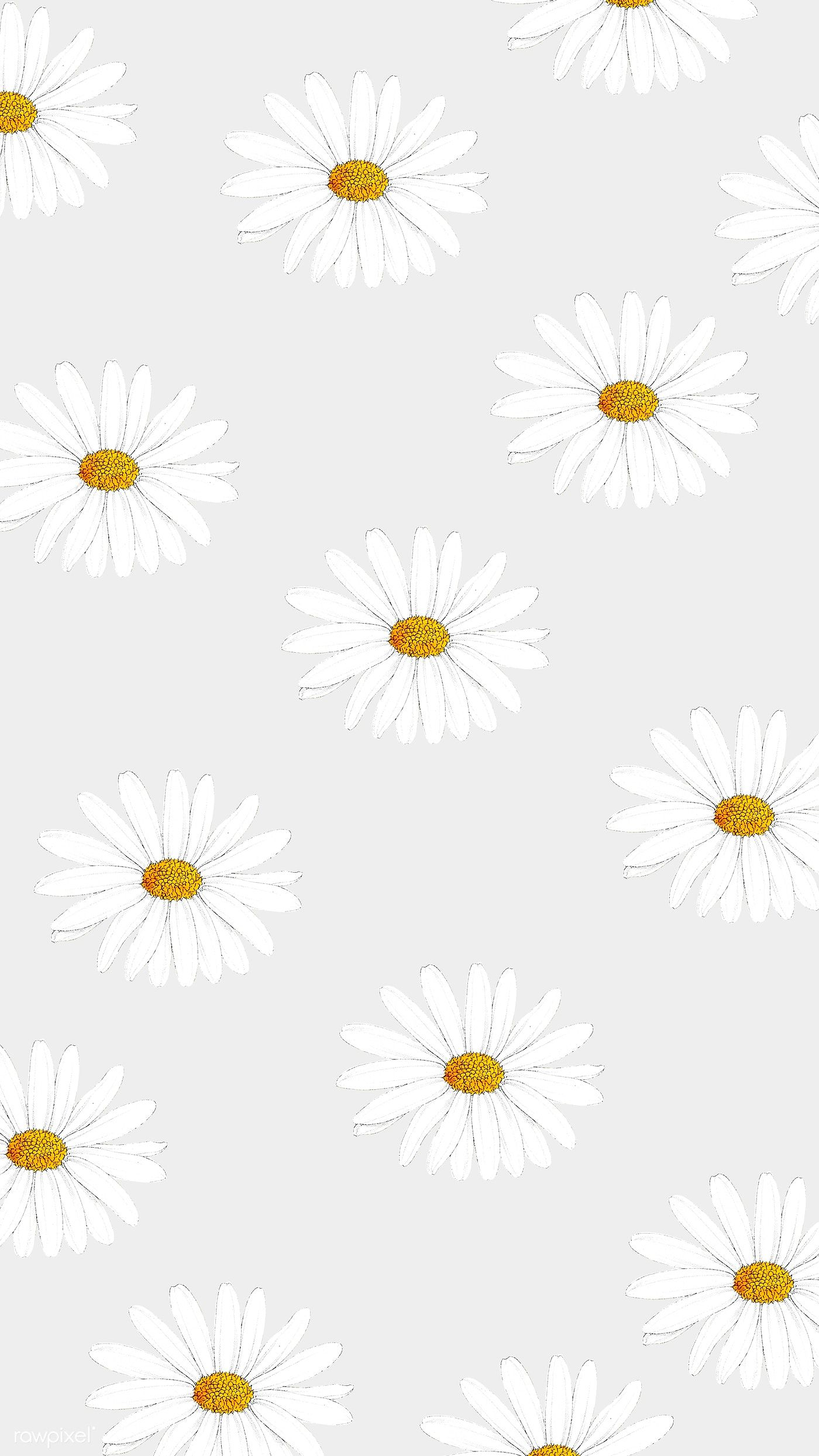 Download Premium Illustration Of White Daisy Patterned Mobile Wallpaper In 2020 Daisy Wallpaper New Flower Wallpaper Drawing Wallpaper