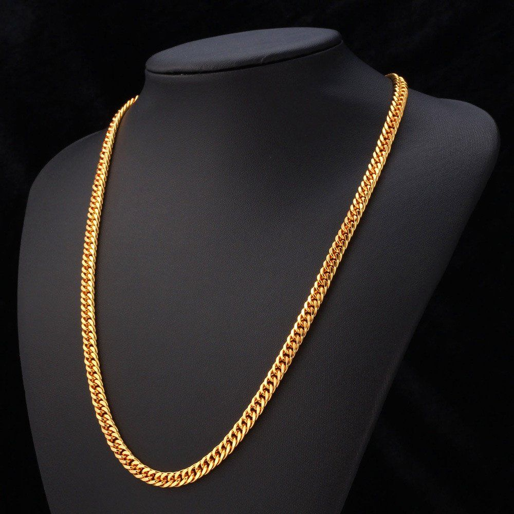 Gold chain for men jewelry with uckud stamp k real gold plated