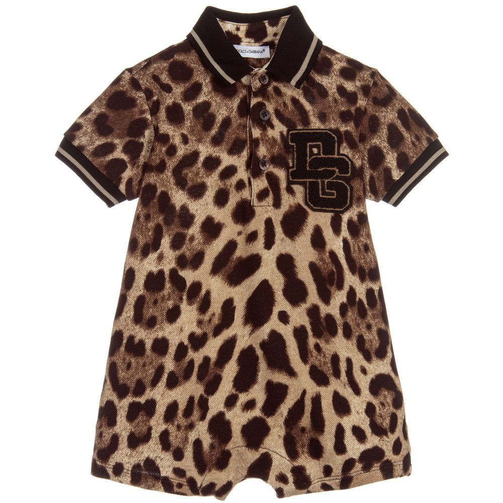 e951b7f85 Brown leopard print shortie for baby boys by luxury brand Dolce & Gabbana.  In a polo-shirt style, it is made in soft cotton piqué and has logo  appliqué on ...